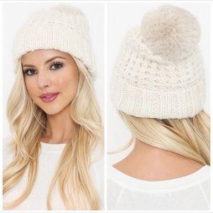 Ivory knit faux fur Pom beanies